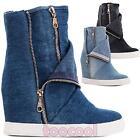 Scarpe donna stivaletti jeans denim zip sneakers zeppa interna nuove BBJ7178