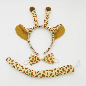 Giraffe-Animal-Zoo-Farm-Jungle-Headband-Ears-Bow-Tie-Tail-Set-for-Child-Boy-Girl