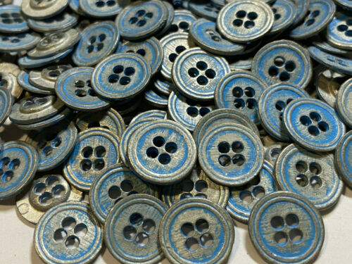 Vintage Metal Button Antique Silver//Dusty Blue Patina Finish 11mm /& 15mm 4hole