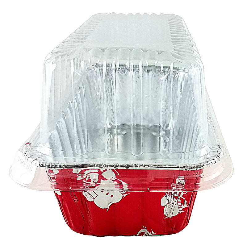 Handi-Foil 2 lb. Red Snowman Holiday Christmas Loaf Bread Pan w/Clear Dome Lids 50
