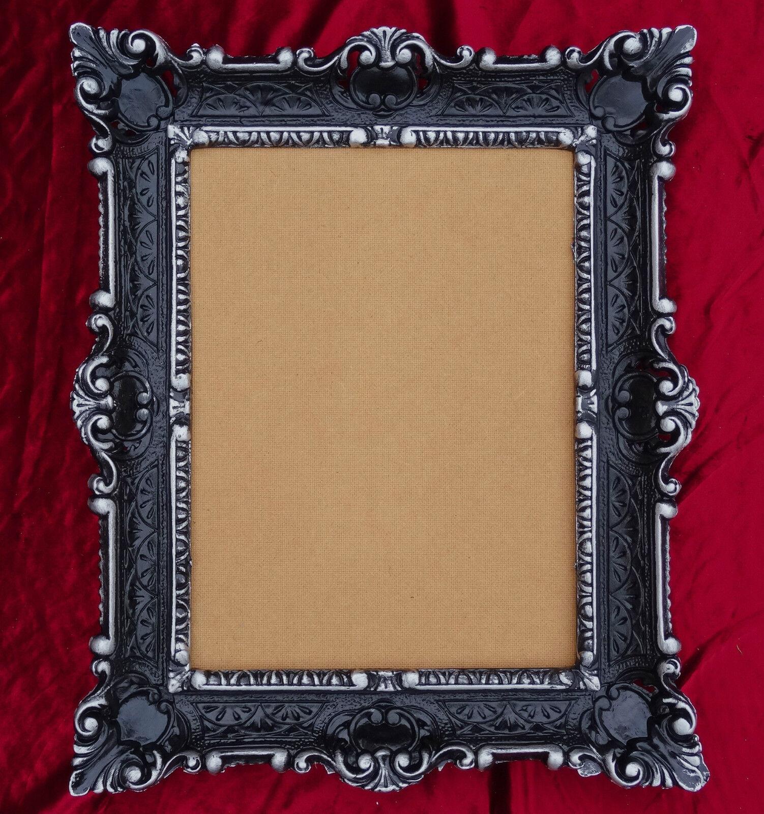 Antique Baroque Cadre Photo Argent 56x46 Rectangulaire Repro 30x40 Tableau