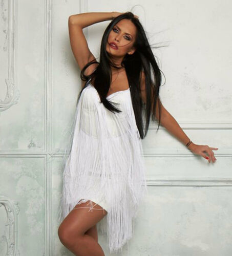 Robe Blanc Robe à soirée habillée franges femme M de plage de Xs S Robe Robe Alina By Robe pour x5wqI5Z