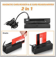 2 In 1 Ic Chip Reader Writer Card Usb 3 Track Magnetic Stripe Credit Swipe