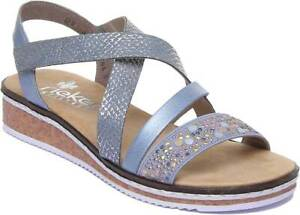 Details about Rieker V3663 10 Women Casual Ankle Strap Sandals In Denim Blue Size UK 3 8