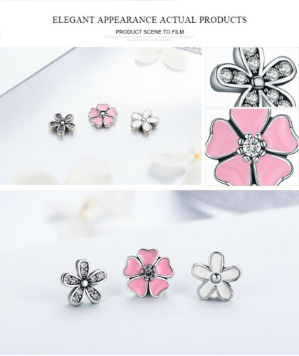 NEW 925 sterling silver Poetic Blooms Pink Enamel /& Clear CZ Floating Necklaces