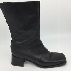 Coach-Betsey-Black-Leather-Tall-Boots-Zipper-Made-in-Italy-Womens-US-Size-7-B