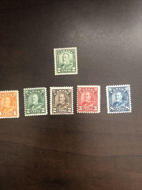 Mint Canadian Stamps Scott # 150 - 171 King George V MH