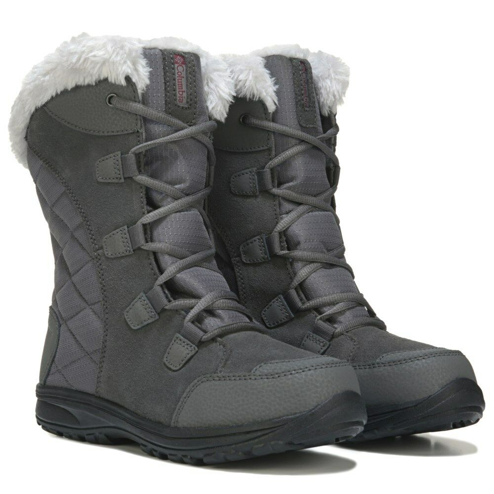 Columbia Ice Maiden II Fur Lace-Up Women's Waterproof Winter Snow Boots - Shale