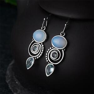 925-Silber-Ohrringe-Meer-blau-Vintage-Mondstein-Topas-baumeln-Drop-Hook-Ohrringe