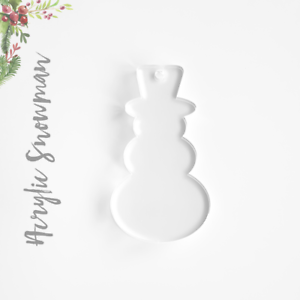 25 ACRYLIC CHRISTMAS ORNAMENTS BLANK SNOWMAN 1/8 THICK-SELECT SIZE&COLOR
