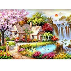 5D DIY Full Drill Diamond Painting Cross Stitch Kits Garden Cottage Embroidery