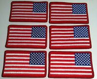 6 United States Flag Military Patch With Velcro® Brand Fastener Left Red Border