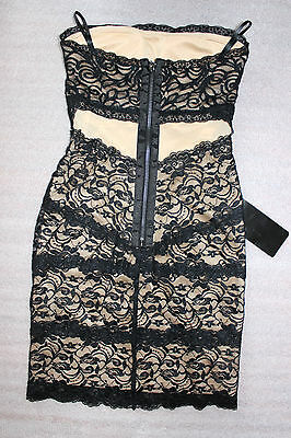 NWT bebe black beige nude overlay lace mesh strapless sexy top dress XXS 0 hot