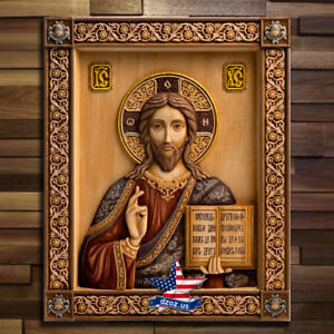 ICON-WOOD-JESUS-CHRIST-GOD-THE-LORD-ALMIGHTY-CARVED-ARTWORK-PICTURE-PAINTING-3D