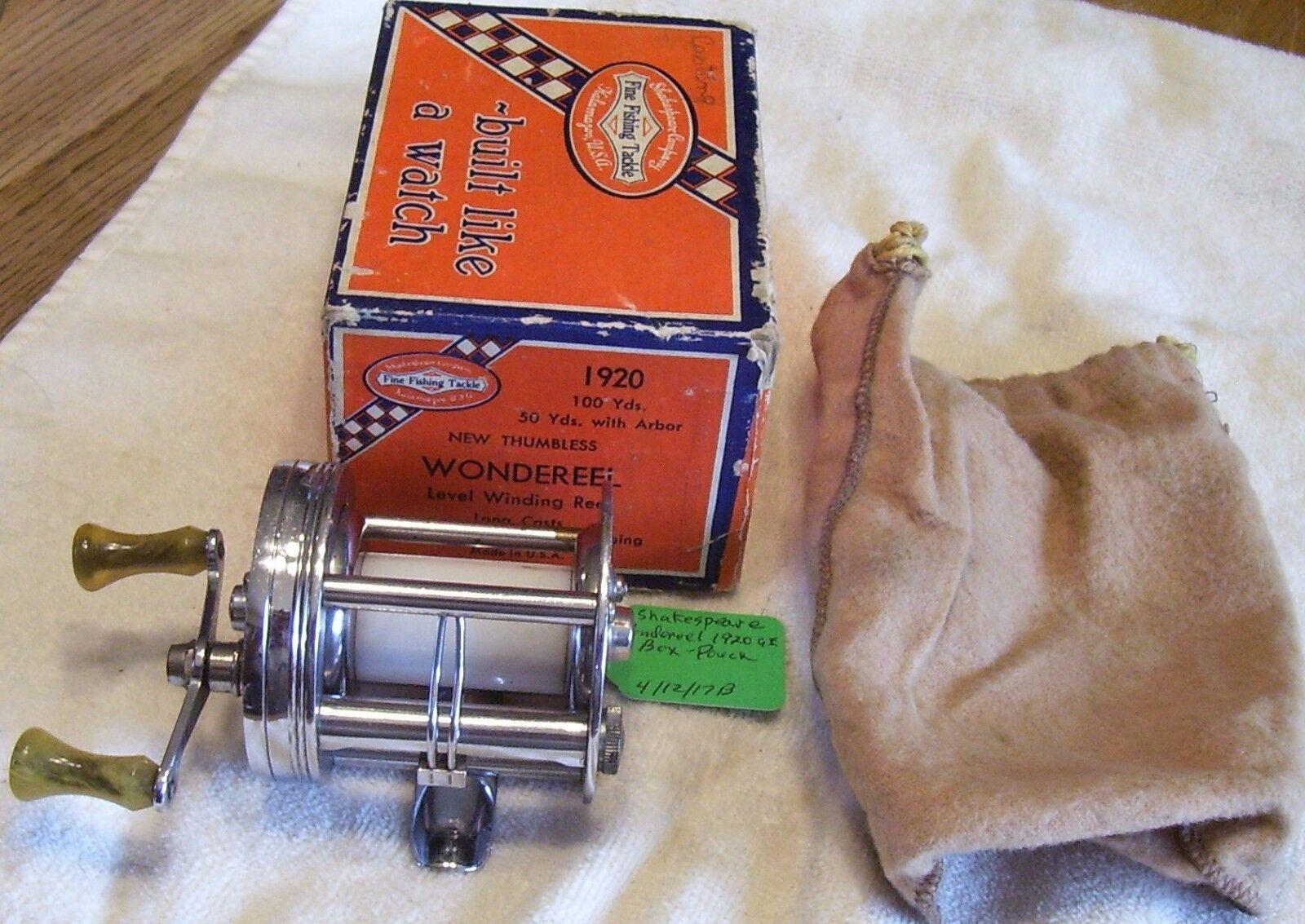 SHAKESPEARE WONDEREEL 1920 GA  REEL  04 12 17 MW  BOX POUCH  VERY NICE