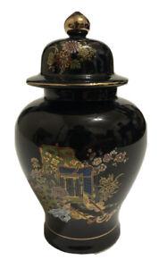 Black-Gold-Ginger-Jar-Vase-Japanese-Garden-Scene-Made-In-Japan