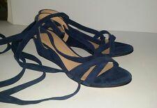 Jcrew navy blue suede ankle tie wrap low wedge sandals heels. 6.5