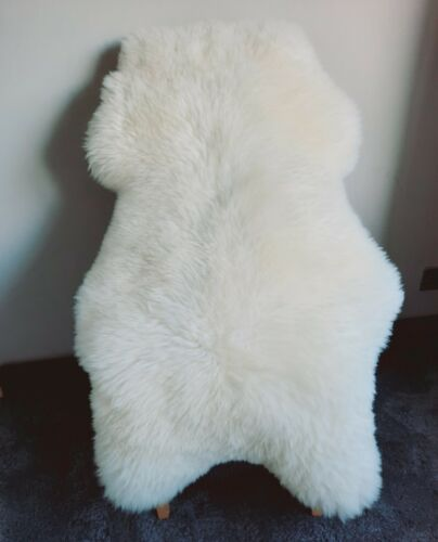 UK Sheepskin Rug Pelt 100/% Natural Soft Fluffy Real Fur Ivory White XL 125-130cm
