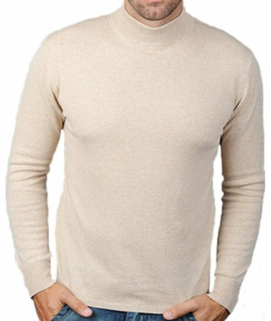 Balldiri 100% cashmere homme pull pull pull col montant 2-fädig beige chiné xl 30d948