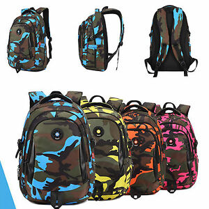 951b6a3834 Image is loading School-Bags-Girls-Boys-Camouflage-Waterproof-Nylon- Orthopedic-