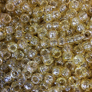 100-Gold-Sparkle-Pony-Beads-9x6mm-Authentic-Beadery-USA-Beads