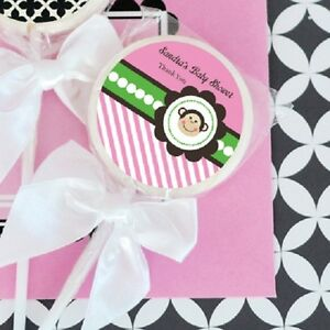 pink monkey lollipops personalized lollipop birthday party baby shower