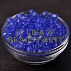 25pcs 6mm Cube Square Faceted Crystal Glass Loose Spacer Beads Blue