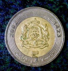 Morocco-2002-Mohammed-VI-5-Dirhams-Bi-Metallic-KM109-Uncleaned-039-Nice-Details-039