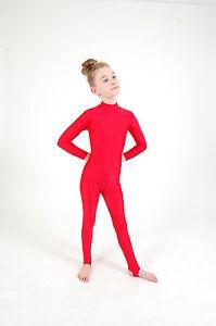 62acb3dffd2d Girl s Polo Turtle Neck Long Sleeved Dance Catsuit Shiny Nylon Lycra ...