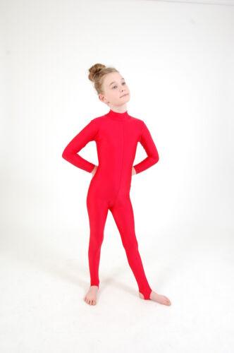 GIRL/'s Polo Tartaruga Collo A Maniche Lunghe DANCE Catsuit Lucido In Nylon Lycra bambini