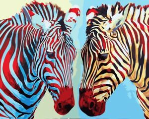 Animal Zebra Paint By Number Kits Oil Painting Canvas Diy Craft Home Art Decor Ebay