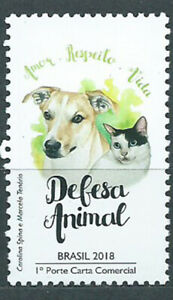 Brazil-Mail-2018-Yvert-3676-MNH-Protection-Of-Animals-Domesticos-Fauna-P