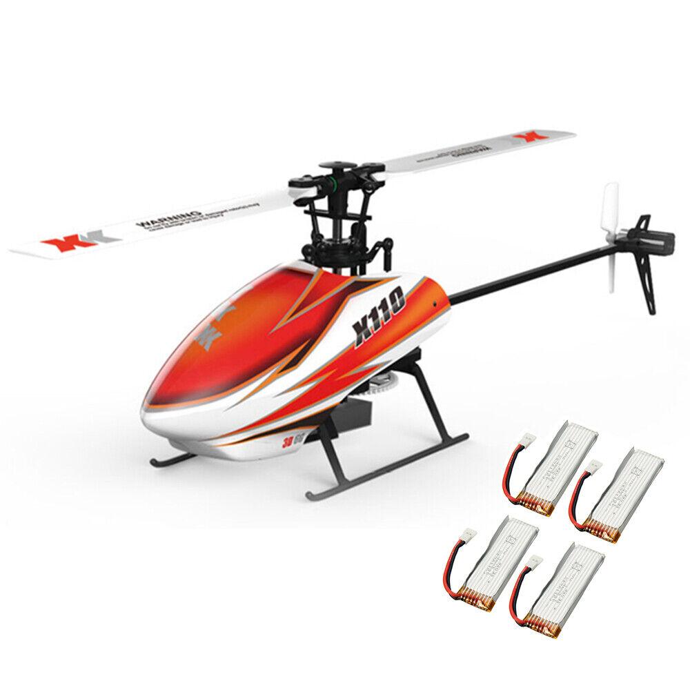 XK K110 Blast sin escobillas 6CH sistema 3D6G RC Helicóptero BNF con batería de 4 piezas
