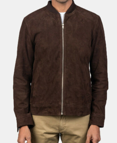 Men Fashion Suede Leather Bomber Jacket Brown