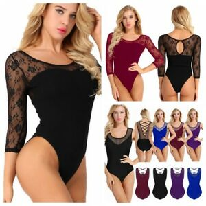 Lace-Mesh-Ballet-Dance-Leotard-Women-039-s-Gymnastics-Tights-Dancewear-Cami-Costume