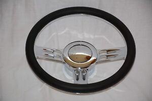 14-034-Chrome-Billet-Aluminum-Leather-Half-Wrap-Custom-Street-Rod-Steering-Wheel