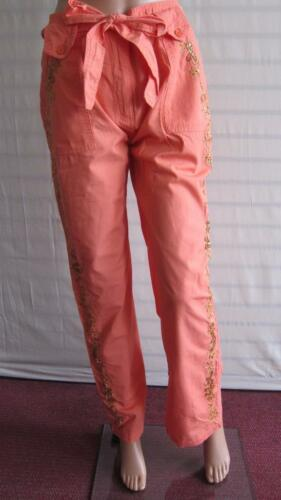 Simply Be Ladies Trousers Sequin Cotton Pants L 31 in Size 14 Plus 28 UK Apricot