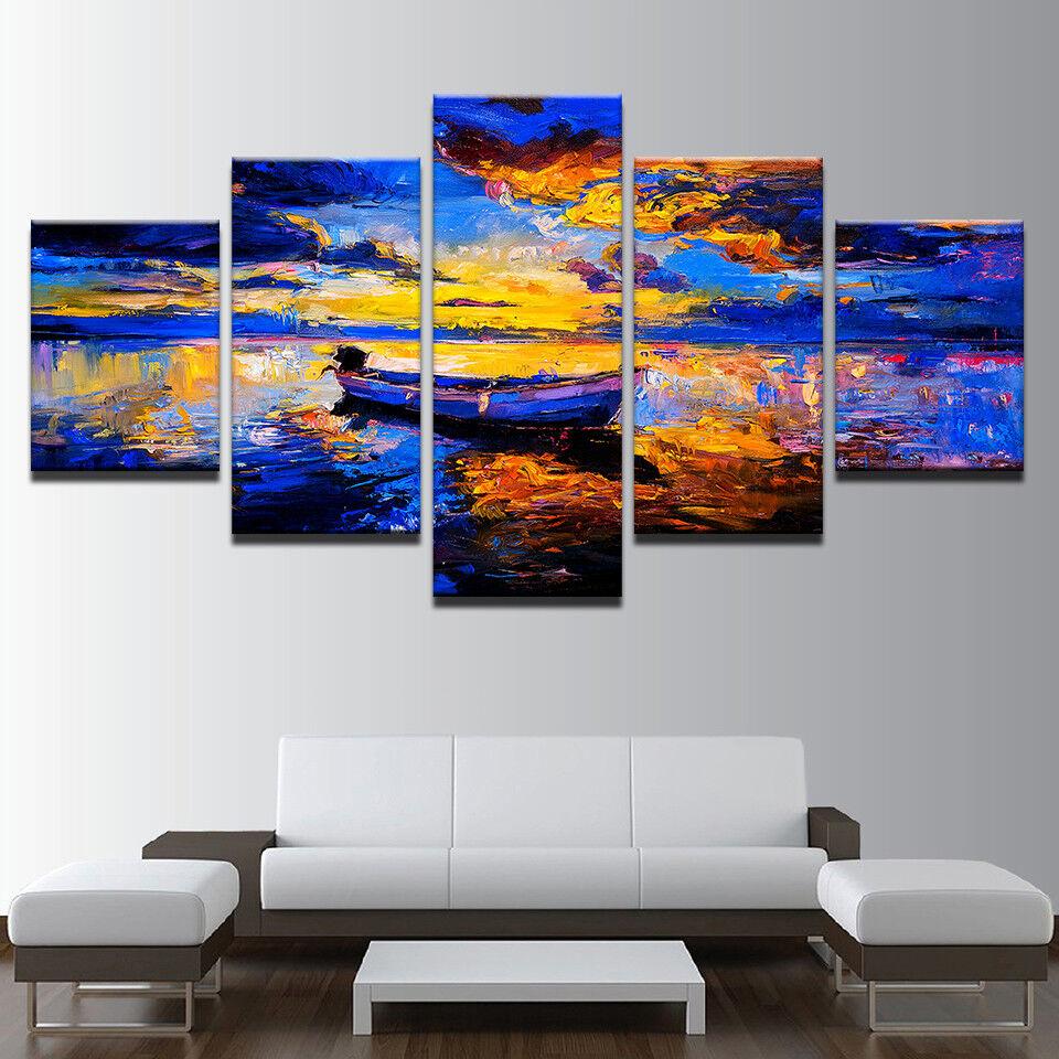 Small Sailboat Fishing 5 Panel Canvas Print Wall Art