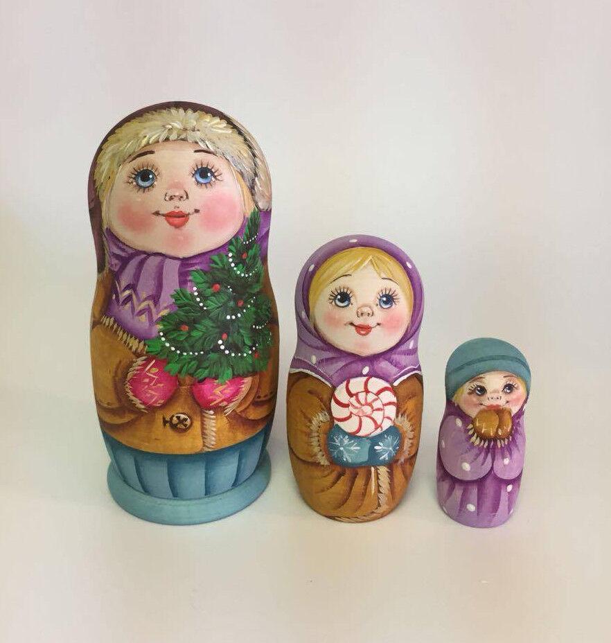 Matryoshka Russian Wooden Nesting bambolas -  3 Pieces Unique Coloreeing Set  2  consegna e reso gratuiti