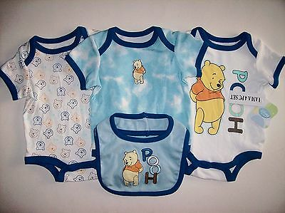 Winnie the Pooh Bodysuits Bib 4pc Set Sz 3-6 Mos Creepers Blue Disney Baby NWT