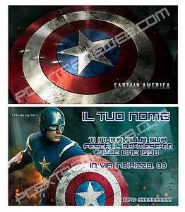 Biglietti Inviti Compleanno Personalizzati Captain America 30 Pz
