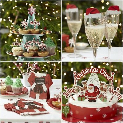 Christmas Cake Decoration Kit by Ginger Ray 11 Cake Toppers and Wrap
