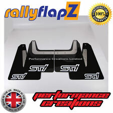 rallyflapZ SUBARU FORESTER STi (04-08) 2nd Gen Mud Flaps Black STi White 4mm PVC