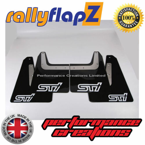 04-08 rallyflapZ SUBARU FORESTER STi 2nd Gen Mud Flaps Black STi White 4mm PVC