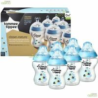 Tommee Tippee Closer to Nature 260ml Blue Decorated Baby Feeding Bottles 6 Pack
