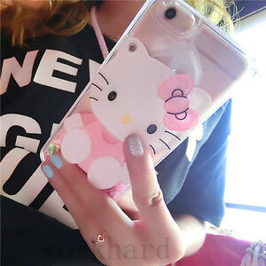 Cute-Hello-Kitty-Mirror-Bling-Flowing-Liquid-Love-Glitter-Soft-Strap-Case-Cover