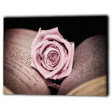 Pink Rose Wall Canvas Framed Flower Love - New Art Print Gifts - Ready To Hang