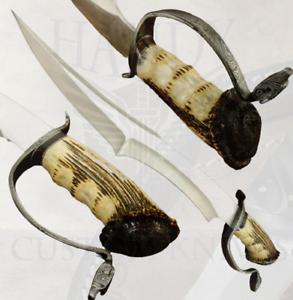 HANDY CUSTOM CARBON STEEL ALIEN BOWIE KNIFE CROWN ANTLER HANDLE
