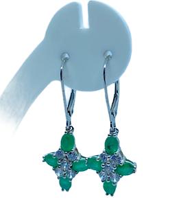 Colombia Emerald & Zircon 9K White Gold Drop Earrings tgw 2.18cts