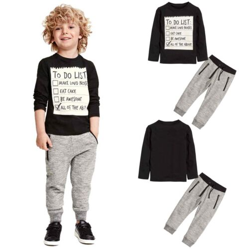 2pcs Toddler Kids Baby Boys Outfits Clothes Long Sleeve T-shirt Tops+Pants New